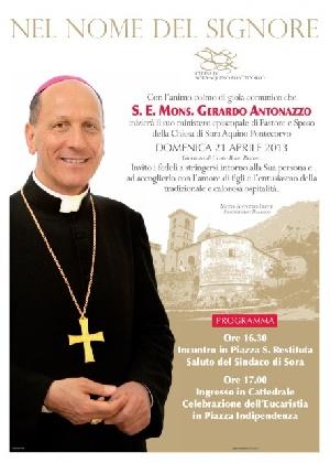 Domenica 21 Aprile ingresso a Sora del nuovo vescovo, S.E. Mons. Gerardo Antonazzo