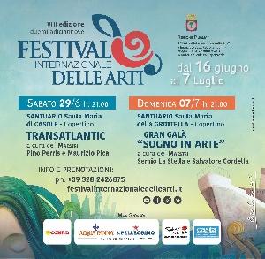 Copertino - Festival Internazionale delle Arti: domani sabato 29 giugno con Transatlantic